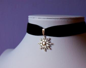 Celestial Sun Silver Star Charm Black Velvet Choker Necklace Retro 90s / For Her