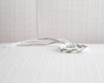 Friendship Bracelet Embroidery Thread Woven Bracelet White and Light Grey Asymmetrical Chevron Bracelet