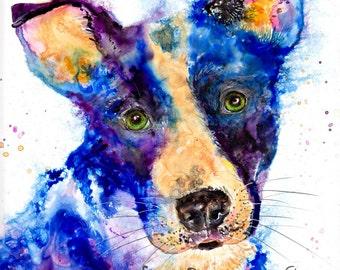 Dog spirit art print - dog lover art, dog shelter art, dog rescue art, dog lover gift, dog spirit art, happy dog art, colorful dog art
