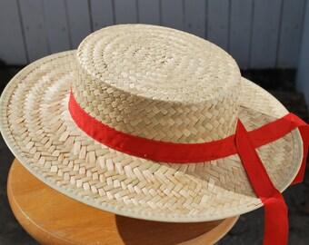 Straw Boater, Skimmer, Planter Hat