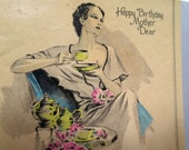 Vintage 1930's Happy Birthday Card Featuring an Elegant Mother Sipping Tea in Her Country Cottage Fresh Cut Roses at Her Side