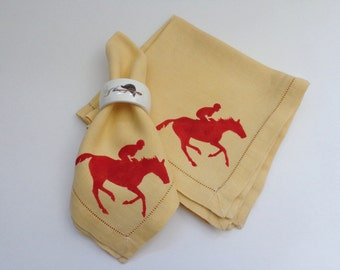 Equine Dinner Napkins Hand Painted, Racehorse Dinner Napkins