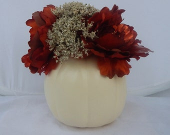 Small Cream Pumpkin with Artificial Flowers
