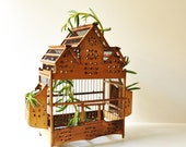 Vintage Primitive Wooden Bird Cage