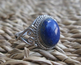 Natural Lapis Lazuli Sterling Silver Ring Sizes 3 1/2 and 4 and 5