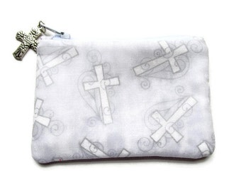 Gray and White Cross Rosary Pouch, Religious Coin Purse, Men, Women