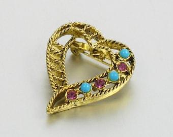 Vintage 1960s GERRYS Heart Brooch. Vintage Filigree Heart Pin. Vintage Mid Century Pin. Vintage Gerry's Pin. 1960s jewelry