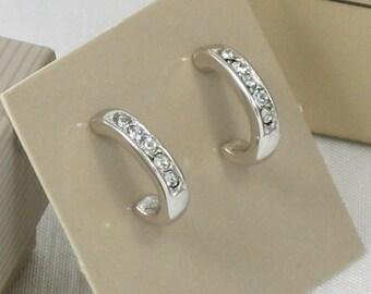1984 Vintage AVON 'Simulated Diamond Hoop' Silvertone Pierced Earrings with Original Box. Vintage Rhinestone Earrings. Vintage Avon Earrings