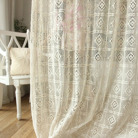 Shabby chic rustic 100 cotton simulated crochet diamond - Shabby chic curtain poles ...