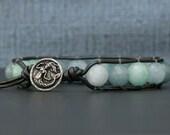 mermaid bracelet - aquamarine, amazonite and blue jade on pewter leather - boho gypsy bohemian beach jewelry - bangle bracelet - blue aqua