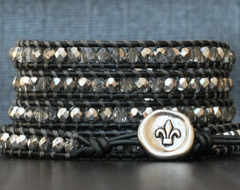 platinum wrap bracelet- bright silver crystal on pewter leather- beaded leather - fleur de lis button - boho gypsy bohemian glam