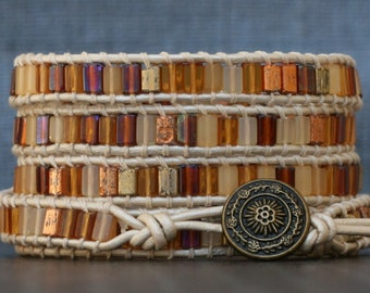 beaded leather wrap bracelet- butterscotch amber czech glass tile beads on pearl white leather - gold golden