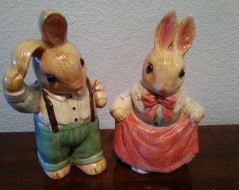 Two Ceramic Rabbits - 6 1/2 inches Tall - Takahashi Seto Craft