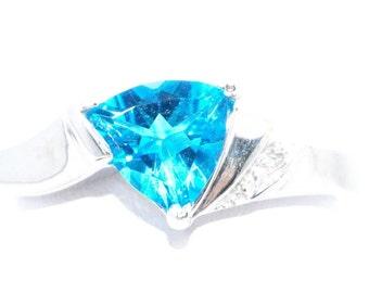 14Kt White Gold Swiss Blue Topaz & Diamond Trillion Ring