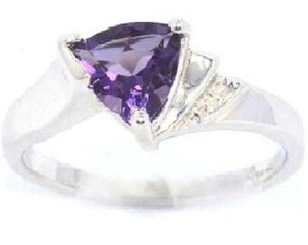 14Kt White Gold Amethyst & Diamond Trillion Ring