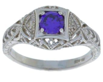 Amethyst & Diamond Round Ring .925 Sterling Silver