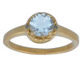 14Kt Rose Gold Natural Aquamarine & Diamond Round Ring