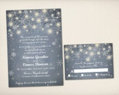 Wedding Invitation, Elegant Romantic Night Wedding, Modern Vintage Rustic, Fantasy Snow Flakes, Winter Invitation PDF (WI10)
