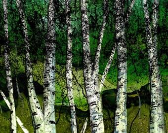 Trivet-Art Tile -Dye Sublimation of Alcohol Ink painting on a 6x6 Ceramic Tile- Summer Birch Forest