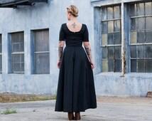 vintage black maxi dress / low back dress / scoop neck dress / black dress long black gown / black backless dress / long black dress vintage