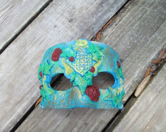 Costume mask, Mardi Gras Mask, one of a kind, Masquerade ball, hand painted, rust red and aqua green