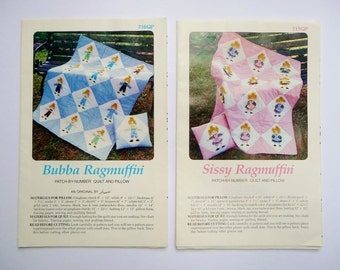 Bubba and Sissy Ragmuffin Boy or Girl Quilt and Pillow Pattern, Patch by Number, Child, Single or Double Size Quilt UNCUT