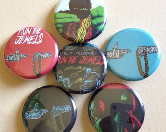 "Run The Jewels pin back buttons 1.25"" set of 6"