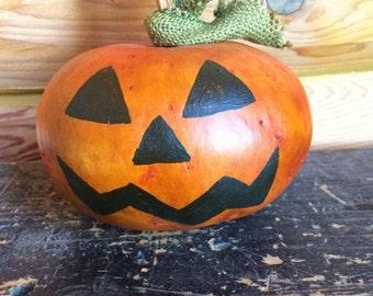 Primitive Pumpkin Gourd, Primitive Halloween Jack o Lantern