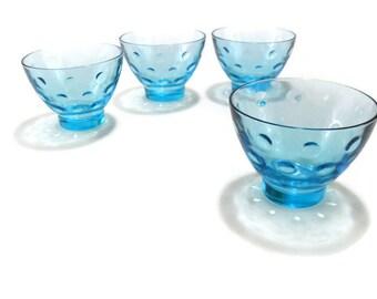 Vintage Capri Dots Turquoise Champagne Glass * Hazel Atlas Tall Sherbet Glass * Set of 4