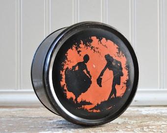Vintage Silhouette Tin - Orange and Black Halloween Decor with Lid