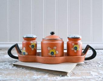 Vintage Sakuraware Salt Pepper Shaker Sugar Bowl Handpainted Japan Sakura Ware