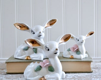 Vintage Porcelain Deer Family Set of 3 - Ceramic Gold Cute Doe with Flowers Napco