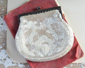 Vintage Beaded Change Purse Hand Bag Off White Microbead Champagne