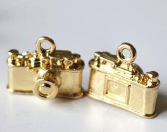 2pcs metal camera charm-15x10x10mm-1265-18k gold -A