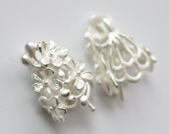 6 pcs of floral bead cap bail for half ball bead 20x15x10mm-matte silver-1714