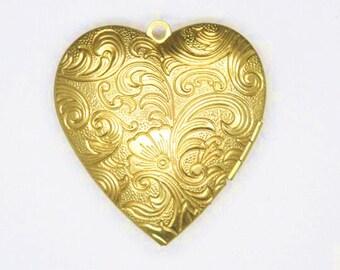 2 pcs of big size floral heart locket 40x40mm-BL3031-raw brass