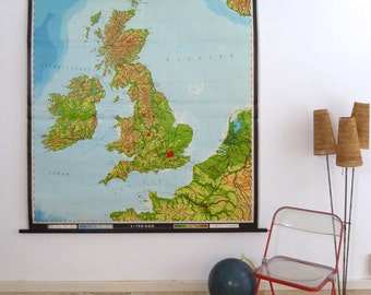 British Isles - Vintage School Map of UK - Original Wall Chart of Britain From Germany 1960- Justus Perthes