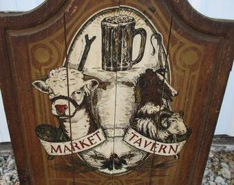 MOVING SALE Vintage Market Tavern wood wall cabinet with shelves bar man cave decor