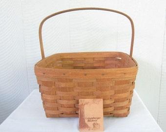MOVING SALE Longaberger Cake Basket with Stationary Handle.  1986 Handmade Longaberger Basket with Riser.