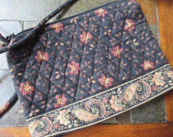 retired Vintage Vera Bradley Black Walnut pattern black and brown paisley zippered purse