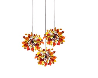 Triple Pendant Chandelier ceiling lighting - warm color  round shape flowers and leaves for Kitchen Island, Dinning Room.