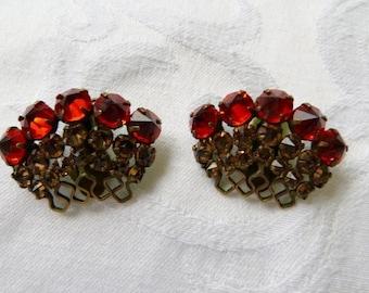 Schreiner New York Earrings Clip On Vintage Designer Signed Rhinestone Prom Wedding