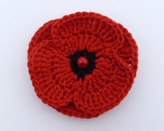 Crochet red double poppy brooch