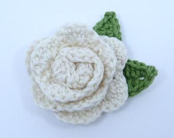 Crochet brooch. Cream crochet rose brooch, Mother's day gift, birthday gift, brooch pin,  flower corsage, Christmas gift,