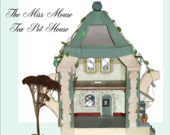 """Doll House - Mouse Dollhouse Miniature in 1/24"""" Half Scale, A Printable Doll House, DIY, Kit, model, Mouse House SALE"""