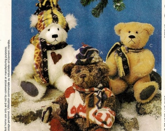 A Set of 10'' Tall Jointed Stuffed Bears with Vest, Hat, Mittens and Scarf Sewing Pattern: Uncut/FF ~ McCall's 9498