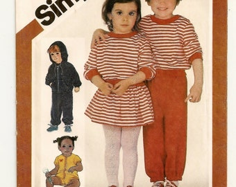 "A Romper, Mini Skirt, Pullover Top, Pull-On Pants, Panties & Hooded Jacket Pattern for Toddlers: Uncut - Size 2 Breast 21"" • Simplicity 5778"