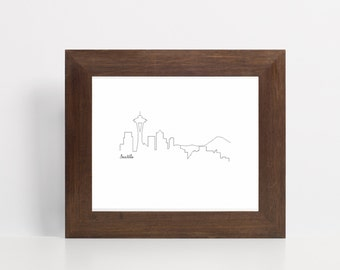 Seattle Skyline Printable Art - Black - Printable Art - Space Needle