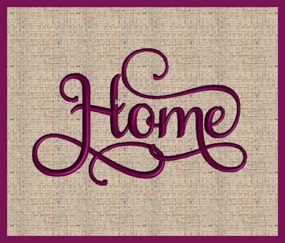 Home machine embroidery design word