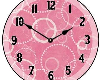Hot Pink Circles Clock